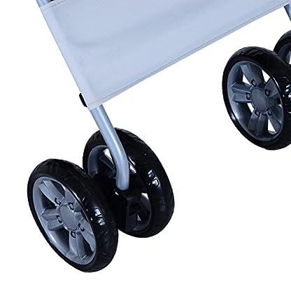 PawHut Pet 4 Wheels Travel Stroller Dog Cat Pushchair Trolley Puppy Jogger Folding Carrier (Grey) 6