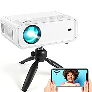 Explore 2 Mini Projector 2021 Upgraded WiFi Video Projector, 6500L Movie Projector with Synchronize Smartphone Screen…