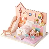 Vazussk DIY Dollhouse Kit Wooden Miniature Furniture Kits Mini Mia's Cat House with Dust Proof Cover Music LED Light Tools Birthday Gifts for Women Girls
