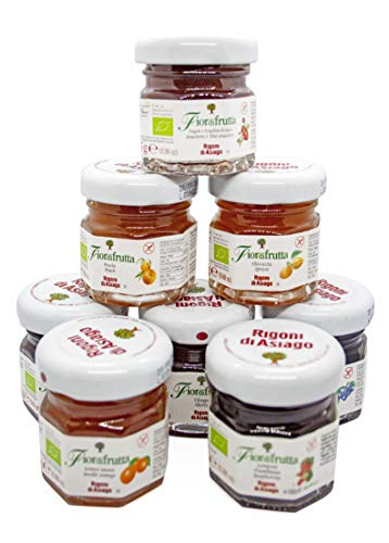 Rigoni di Asiago - Marmellate Monodose Assortite in 8 gusti, 32 pezzi x gr. 25 Ognuno. Barattolini di Vetro Monoporzione