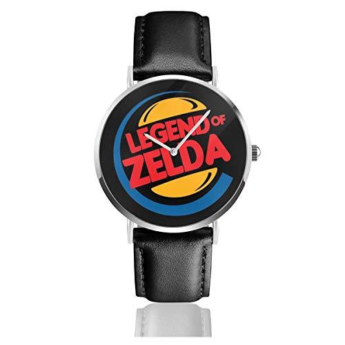 Unisex Business Casual Legend of Zelda Burger King Mix Uhren Quarzuhr Lederband schwarz für Männer Frauen Junge Kollektion Geschenk