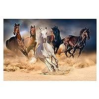 キャンバスプリントウォールアート写真モダンな黒と白のランニングホースキャンバスポスターに油絵とリビングルームのウォールアート写真をプリント-A_60X90Cm_Unframed
