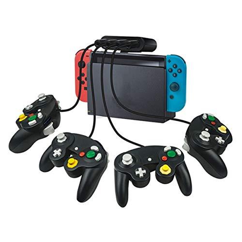 Esenlong Adaptador para mando Gamecube Adaptador Gamecube para Wii u, PC, interruptor. Sin necesidad de controlador y fácil de usar. Adaptador Gamecube negro de 4 puertos (versión mejorada)