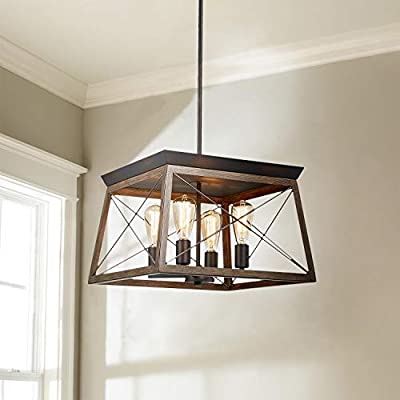 Saint Mossi Antique Bronze Oaky Painted Metal Island Lighting Stardust Distressed Finish Network Shade 4 Lights, Kitchen Island Chandeleir Lighting Rustic Vintage Farmhouse Industrial Country Style