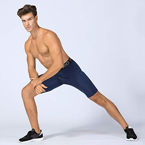 41CiyO8h6UL. SS500  - Lixada Men's Compression Shorts Pants Sports Baselayer Tights Active Workout Underwear Leggings with Pockets - - Large