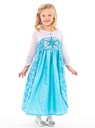 Little Adventures Ice Princess Dress up Costume for Girls (Large Age 5-7) Blue