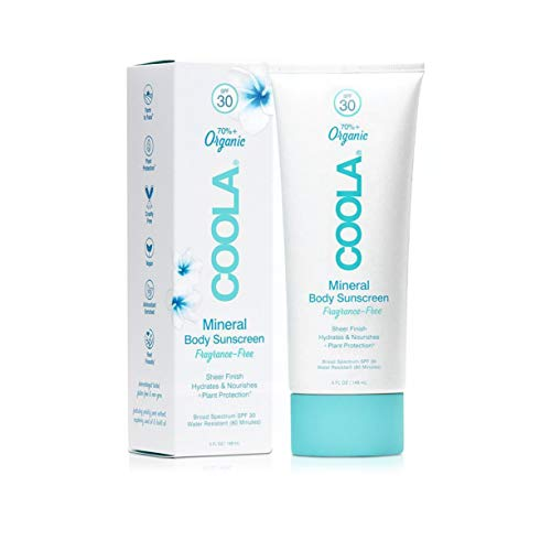 COOLA Organic Mineral Body Sunscreen, Broad Spectrum SPF 30, Reef-Safe, Fragrance Free, 5 Fl Oz