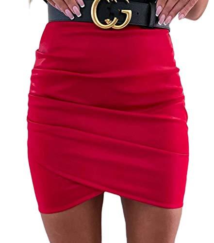 Vanornia Minifalda para Mujer Falda de Cuero Sintético Ajustada de Cintura Alta con Cremallera Casual Sexy Elegante (C-Rojo, S)