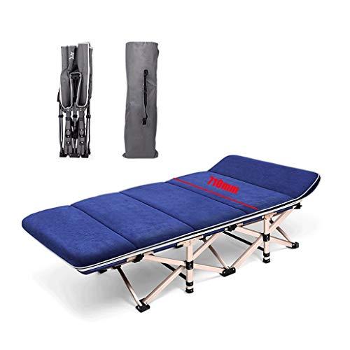 GLLT Cama Individual Plegable con colchón, Chaise Longue Plegable, Tumbonas, Estructura metálica 1200D Oxford, pie de Cama PE, Carga de hasta 200 kg 190x71x36cm (Color : Blue L)