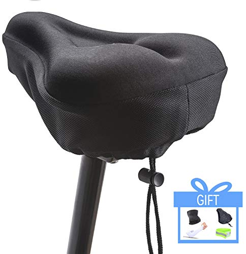 Timebox Bike Seat Cover Cushion, Memory Foam Gel Bike Saddle Cushion, Extra Soft Narrow Bike Seat Cushion with Water&Dust Resistant Cover Reflective Band Bandanas for Cycling