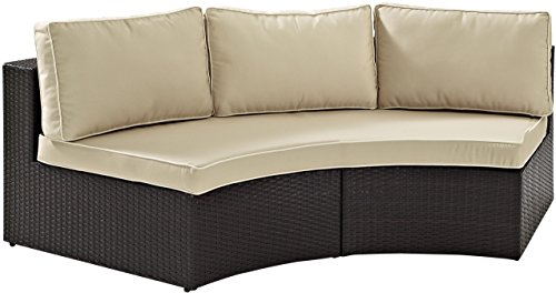 Crosley Furniture Catalina Outdoor Wicker Round Sectional Sofa with Sand Cushions - Brown
