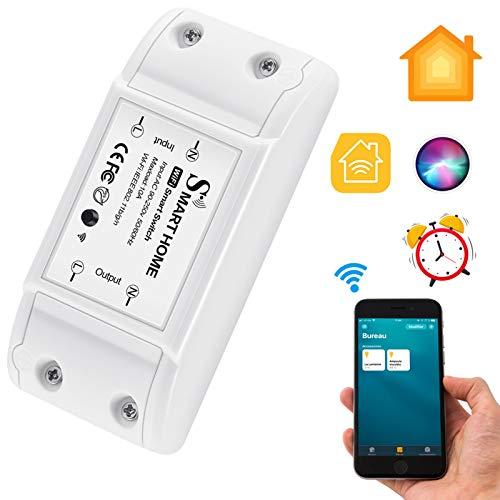 CAMPSLE WiFi smart switch, trådlös strömbrytare röststyrning fjärrtimer Outlet app-kontrollbrytare, reläsbrytarmodul kompatibel med Homekit Smart Assistant, AC 110–230 V 10 A