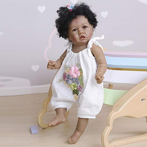 YIHANGG 56CM Realista Reborn Doll African American Baby Newborn Doll Soft Full Body Silicone100% Coleccionables Hechos A Mano Impermeable Lavable Juguete para Niños