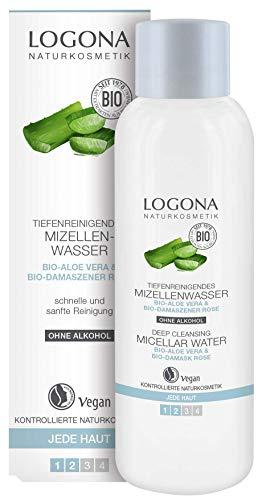 LOGONA Naturkosmetik Reinigendes Mizellenwasser, Befreit die Haut sanft & porentief von Make-up & Schmutz, Klärt die Haut, Vegan, 125ml