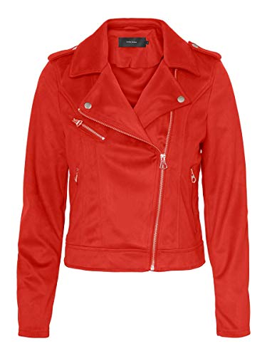 Vero Moda VMYESLEA Short Faux Suede Jacket Giacca in Ecopelle, Rosso Aurora, XS Donna