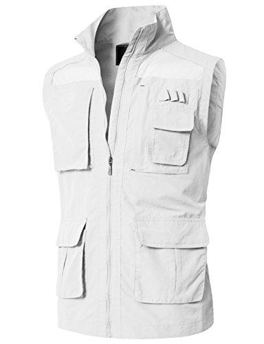 H2H Men's Reversible Cotton Leisure Outdoor Pockets Fish Photo Journalist Vest OFFWHITE US S/Asia M (KMOV0151)
