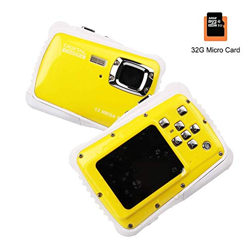 Smyidel Waterproof Mini Kid Camera High Definition 12MP HD 3M Underwater Swimming Digital Camera Camcorder 2.0 Inch LCD Display Include 32 TF Card (Yellow)