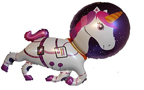 Set 5 Palloncini per Festa di Compleanno - Unicorno Astronauta nelle Stelle - Con Cannuccia - Compatibile Aria/Elio - Dimensioni 78 cm e 45 cm