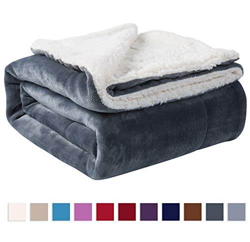 NANPIPER Sherpa Blanket Twin Warm Bed Blanket for Winter Cozy Soft Fuzzy Couch Throw Flannel Fleece/Wool Like Reversible Plush Blanket (Grey Twin Size 60'x80')
