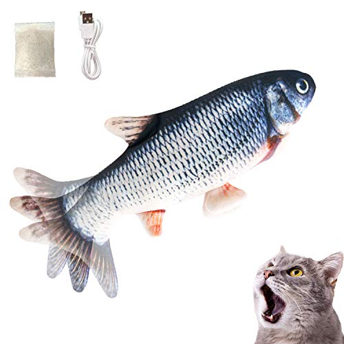 Growom Electric Fish Cat Toy Flippity Cat Toy Interactive Pets Pillow Chew Bite Kick Supplies Catnip Toys Moving Cat Kicker Fish Toy