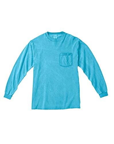 Comfort Colors C4410 Long Sleeve Pocket T-Shirt - Lagoon Blue - S