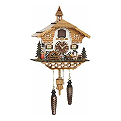 Trenkle Quartz Cuckoo Clock Black Forest House with Moving Beer Drinker and Mill Wheel, with Music TU 4214 QM