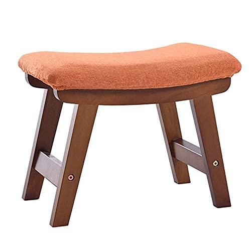 JXJ Taburete otomano pequeño reposapiés para sofá, taburete de tela para zapatos, banco de madera maciza, decoración para el hogar, 10 colores (color: naranja, tamaño: 38 x 26 x 29 cm)