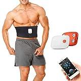Macabolo Elektronische Bauchmuskeltrainer, APP Control wiederaufladbare Taille Trimmer ABS Fitness Gürtel Magen Training Toning Massager