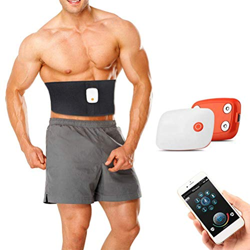 Qiekenao Elektronischer Bauchmuskelgürtel, kabelloser Bauchmuskelgürtel, wiederaufladbar, Taillenmassagegerät, Gewichtsverlust Artefakt