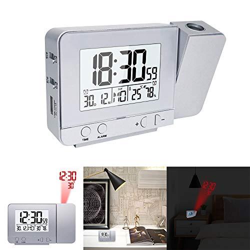 HITECHLIFE Pantalla LED Proyector Reloj con luz de Fondo Snooze Alarm Clock Hora Temperatura Humedad Fecha Inicio Dormitorio Decoración