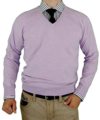 Luciano Natazzi Mens Sweater V-Neck Classic Fit Long Sleeve Pullover Fine Cotton (XX-Large, Lavender)