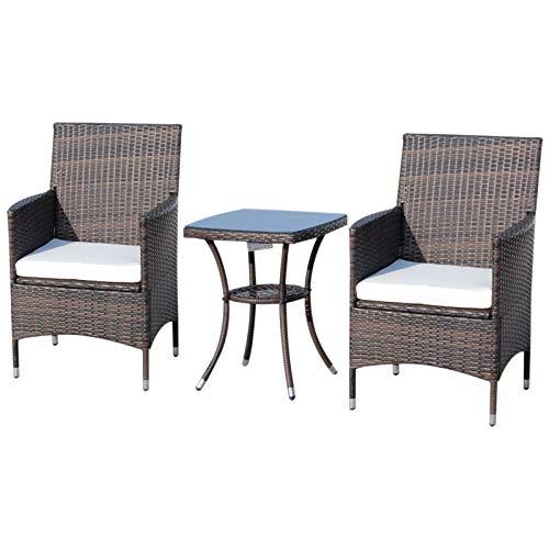 Outsunny 3-TLG. Gartensitzgruppe mit Beistelltisch, Rattan Gartenset, Polyrattan, Braun, 60 x 58,5 x 89,5 cm