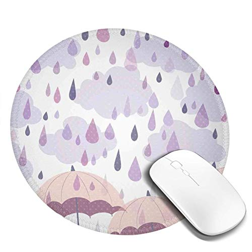 Alfombrilla de ratón con base de goma antideslizante, doble exposición para sombrilla sobre lunares nostálgicos, para oficina de 20 x 20 cm