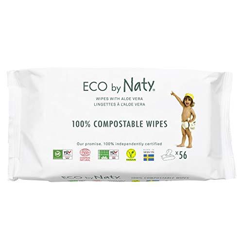 Eco by Naty Toallitas Aloe Vera para bebé, 672 unidades (12 paquetes de 56), Toallitas húmedas compostables hechas a base de fibras vegetales. 0{fc36b0c7fb5ce65deb058c6e14965d65bb6b87a9ca4df4cfcd4be51b82cf58b1} plástico. Sin sustancias nocivas.