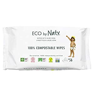 Eco by Naty Toallitas Aloe Vera para bebé, 672 unidades (12 paquetes de 56), Toallitas húmedas compostables hechas a base de fibras vegetales. 0% plástico. Sin sustancias nocivas.