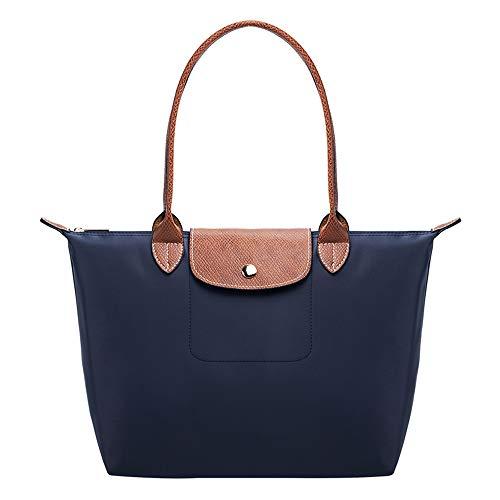 KALIDI Borsa shopper da donna Tote borsa a mano pieghevole borsa a tracolla Shopper, borsa per la spesa, per ufficio, scuola, per il tempo libero, viaggi, spiaggia (blu), L