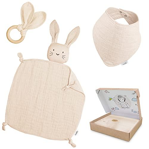 nudu Baby Geschenkset (3-teilig) - Schmusetuch, Lätzchen und Beißring - 100% Baumwolle Musselin Geschenk zur Geburt Mädchen & Junge in Creme