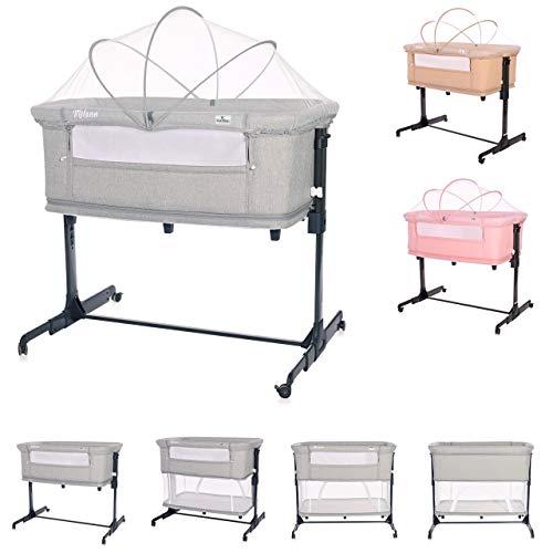 Lorelli Milano 2en1 desde el nacimiento colchón regulable en altura mosquitero, color:gris