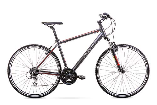 Romet ORKAN 2 M MTB Bike 28 Zoll MTB Fahrrad Mountain Bike Crossbike Fahrrad Shimano 24 Gang 19 Zoll Aluminium Rahmen anthrazit-rot