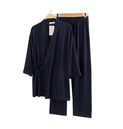 Juego de pijamas para hombre Kimono Robe and Pant Set/Albornoz (Delgado) - Azul