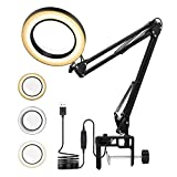 5X Magnifying Desk Lamps, Magnifier Glass LED Lamp Clamp with Adjustable Swivel Arm, 3 Colors Light, 10.5cm/4.13' Diameter Glass Hobby Lamp for Table Craft Reading Study Work