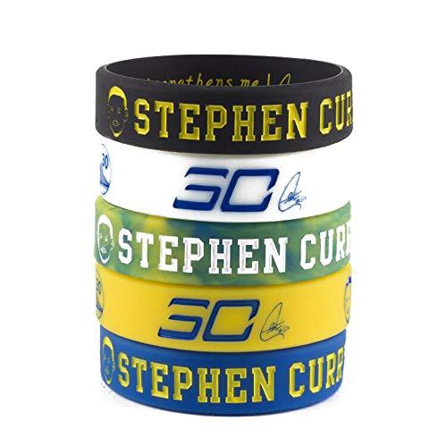 Baloncesto de la NBA Stephen Curry Retrato Pulsera número 30 DE Silicona Deporte Inspirador Palabra Pulsera 5 Piezas