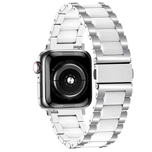 Juntan Silver Stainless Steel White Ceramic Watch Band Compatible with Apple Watch 38mm 40mm for iWa