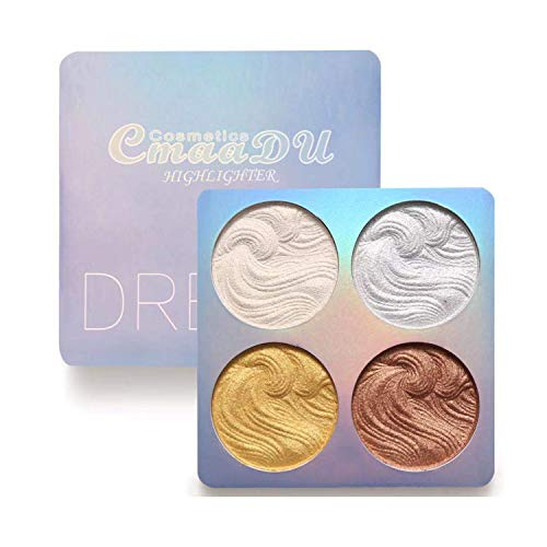 Highlighter Powder Palette, Shimmer Highlighters Makeup Iluminador, Long Lasting Waterproof, Glow Bronzer Highlighter Powder Kit (A02)