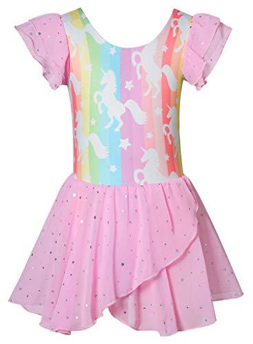 Rainbow Unicorn Ballet Dance Unitard With Skirt Size 8 Purple Blue Green Pink Gymnastics Leotards for Girls Lavender Eggplant Yellow Orange Skating Tumbling Activewear 1Pcs Athletic Base Layers
