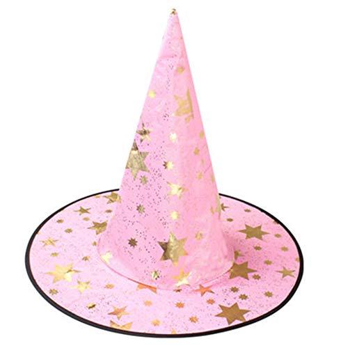 HANYF Sombrero De Bruja De Disfraces De Halloween, Accesorios De Brujas De Halloween, Maquillaje Conveniente para El Escenario,Rosado