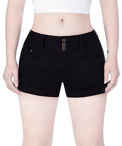 COLINNA Women's Juniors Mid Thigh Stretch Vintage Folded Hem Casual Denim Jean Shorts Black