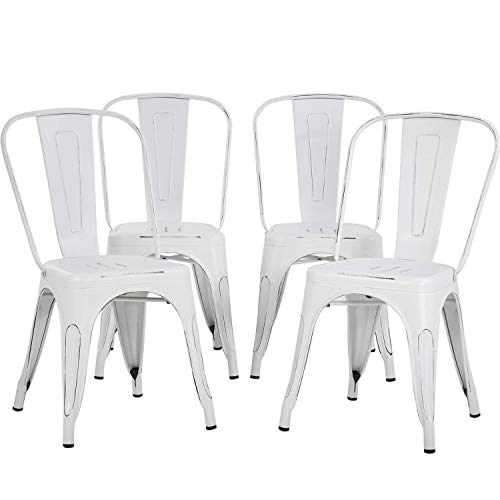 """Metal Chairs Dining Chairs Tolix Restaurant Chair Set of 4 Kitchen Chair 18"""" Seat Height Chic Trattoria Metal Indoor/Outdoor Side Bar Chairs"""