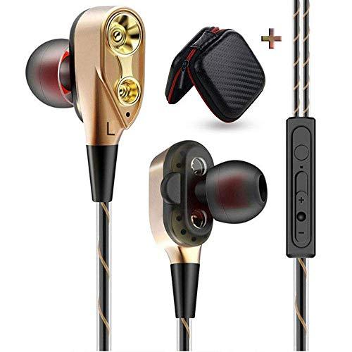 ZGYQGOO In-Ear-Kopfhouml, Dual-Treiber, Gerauml;uschreduzierung, mit HiFi-Audio-Aufbewahrungstasche, tiefer Bass Gold