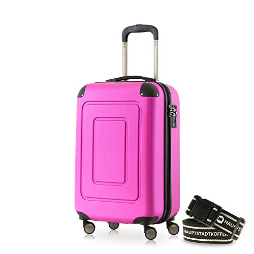 Happy Trolley - Lugano Handgepäck Kabinentrolley Bordgepäck Hartschalen-Koffer Trolley Reisekoffer, sehr leicht, TSA, 55 cm, 40L, Pink +Gepäckgurt